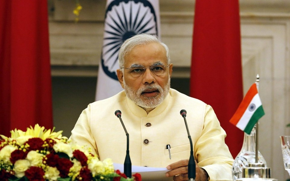 Indian Prime Minster Narendra Modi at Hyderabad House in New Delhi, Sept. 18, 2014. His upcoming visit to New York has exposed a political divide in the Indian-American community. (Harish Tyagi / EPA)