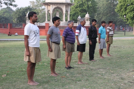 RSS volunteers at their morning shakha. (Sonia Paul)