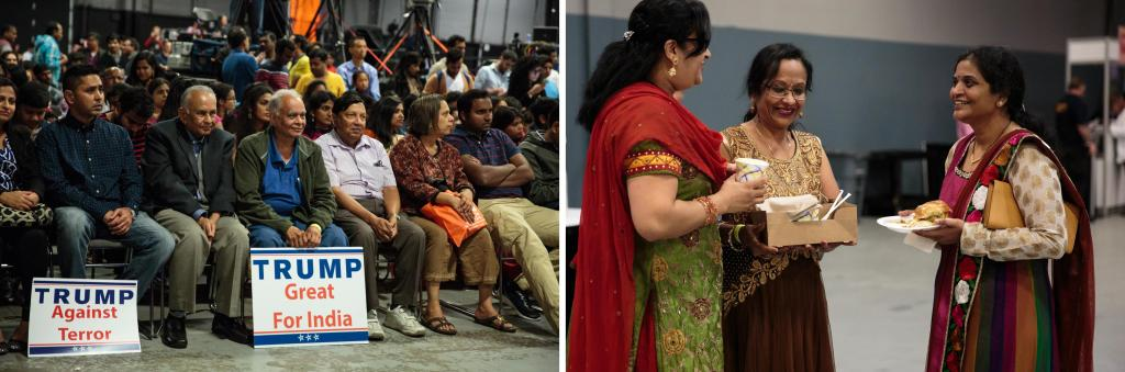 Left: Attendees gather for a celebration organized by the Republican Hindu Coalition with Donald Trump as the guest speaker in Edison, New Jersey. Right: Attendees enjoy Indian snacks. Photo by: Sara Hylton